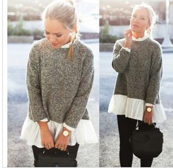 Красив дамски пуловер в сив цвят, подходящ за ежедневие