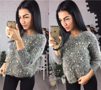 Много стилен дамски пуловер с мъниста в няколко цвята