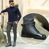 Красиви и гумени спортно-елегантни мъжки боти, в сив и черен цвят