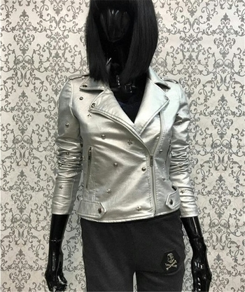 Τελευταίο κομψό γυναικείο δερμάτινο μπουφάν - 5 χρώματα