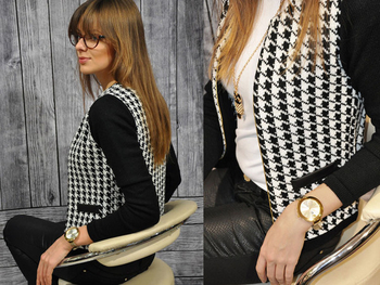 Κομψό γυναικείο σακάκι  σε μαύρο και άσπρο χρώμα