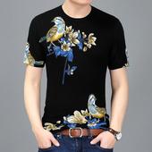 Модерна и много стилна мъжка тениска с къс ръкав и шарени флорални мотиви