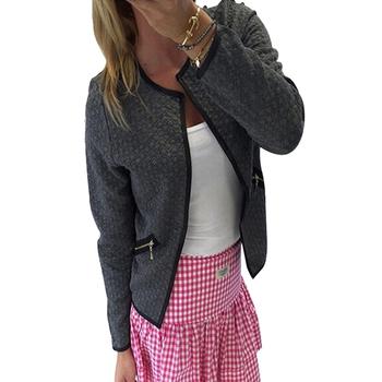 Дамско спортно-елегантно тънко яке тип сако с О-образна яка