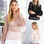 Стилна дамска блуза от дантела = прозрачна, в бял, розов и черен цвят