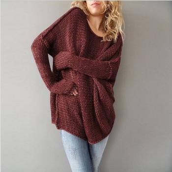 Дълъг плетен пуловер за дамите в широк модел в сив и бордо цвят