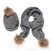Комплект дамска шапка + шал с пухче,в  няколко цвята