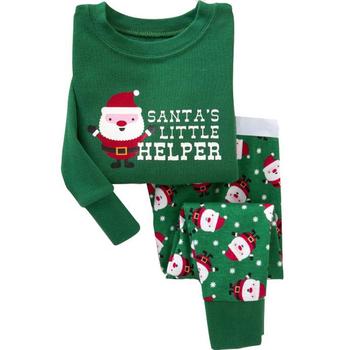 Детска пижама за момичета и момчета с коледни изображения, в зелен цвят