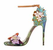 Красиви дамски сандали на висок ток - шарени с 3D флорална декорация