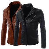 Мъжко кожено яке в семпъл дизайн в кафяв и черен цвят