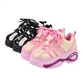 Интересни дамски маратонки в черен и розов цвят с висока устойчива платформа