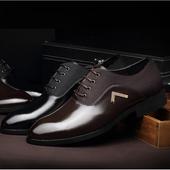 Официални мъжки обувки в кафяв и черен цвят