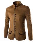 Спортно-елегантно мъжко сако с поло-яка в кафяв и черен цвят