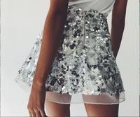 Лъскава дамска пола от пайети с висока талия, в сребърен и златен цвят