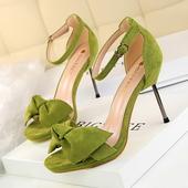 Сладки дамски сандали на висок ток - метален и панделка, в много цветове