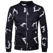 Тънко есенно мъжко яке, в черен цвят с интересен десен