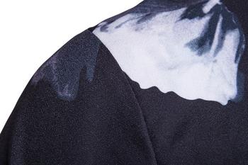 Κομψό ανδρικό  φθινοπωρινό μπουφάν  με floral διακόσμηση σε σκούρο χρώμα