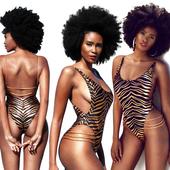 Стилен бански костюм за дамите в леопардова щампа