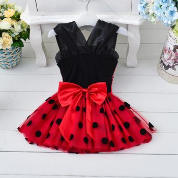 Шикозна детска рокля за момичета в червен цвят с пайети и на черни точки