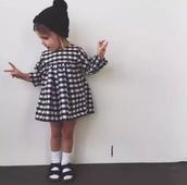 Детска рокля за момичета на каре с дълъг ръкав
