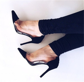 Семпли и стилни дамски обувки на висок ток с прозрачен десен