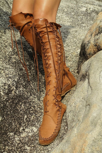 Модерни и актуални дамски обувки в ретро стил с кръстосани връзки до коляното