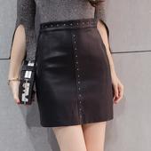 Много модерна и стилна дамска кожена пола с интересни нитове - 2 модела