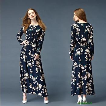 Μακρύ φθινόπωρο φόρεμα με μακρύ μανίκι σε floral μοτίβο - Badu.gr Ο ... 09fb2ff33ca