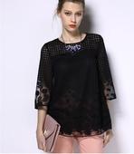 Дамска блуза с 3/4 ръкав в свободен стил - червен и черен цвят и в големи размери