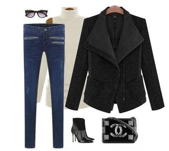 Κομψό μάλλινο γυναικείο σακάκι με μεγάλο κολάρο και τσέπες