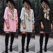 Много стилна дамска дълга блуза тип туника с дълъг ръкав в три различни цвята