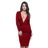 Елегантна дамска рокля по тялото в няколко цвята с дълбоко V-Образно деколте