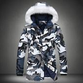 Мъжко зимно яке - камуфлаж, с качулка и пух, в два цвята