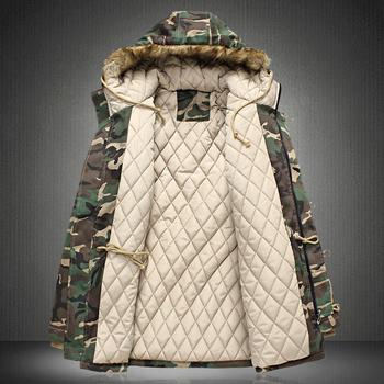 Ανδρικό χειμωνιάτικο μπουφάν - καμουφλάζ, με κουκούλα και αφράτο, σε δύο χρώματα