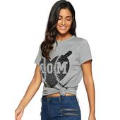 Спортно-елегантна дамска тениска с апликация в сив цвят