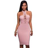 Елегатна дамска рокля по тялото с поло яка и връзки в черен и розов цвят