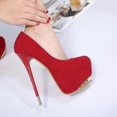 Официални дамски обувки на висок 16см ток с равна висока платформа в златисти лъскави елементи