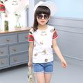 Стилна детска тениска за момичета с изображения и цветни ръкави, подходяща за ежедневие