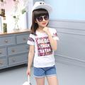 Сладка тениска за момичета с надпис и флорален десен