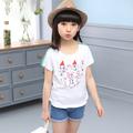 Сладка ежедневна тениска с изображение за момичета в широк модел