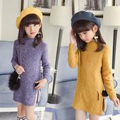 Стилен детски пуловер за момичета - дълъг с изрязан мотив и поло яка, в два цвята