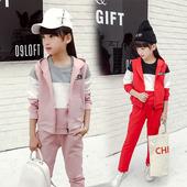 Красив детски екип от 3 части - блуза, елек + панталон, в два цвята