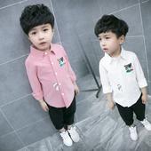 Стилна риза за момчета с бродерия, в розов и бял цвят