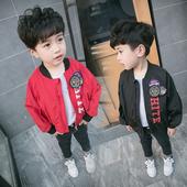 Спортно детско яке за момчета тип бомбър в черен и червен цвят