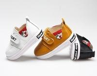 Спортно-елегантни детски обувки за момчета с лепенки в бял, кафяв и черен цвят