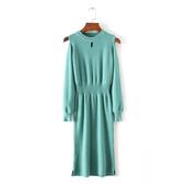 Много стилна ежедневна дамска плътна рокля с дълъг ръкав и О-образна яка - много цветове