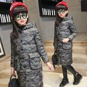 Дълго детско зимно яке за момичета с качулка в четири цвята