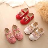 Красиви детски обувки за момичета с каишка и декорация цветя в три цвята, подходящи за ежедневие