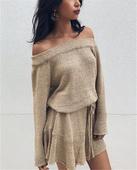 Ежедневна дамска рокличка с дълъг ръкав и паднало рамо - 4 продукта