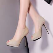 Модерни дамски обувки с лъскав брокат и висок ток