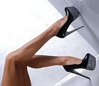 Изключителни дамски обувки на висок ток с лъскава платформа